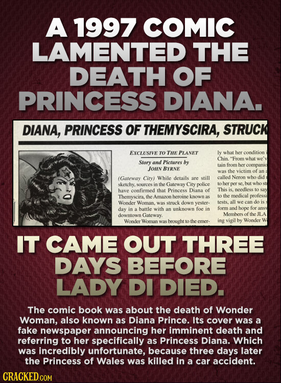 A 1997 COMIC LAMENTED THE DEATH OF PRINCESS DIANA. DIANA, PRINCESS OF THEMYSCIRA, STRUCK EXCLUSIVE TO THE PLANET ly what her condition Chin. Fromwhat