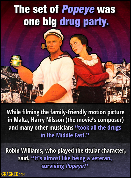 The set of Popeye was one big drug party. ACR While filming the family-friendly motion picture in Malta, Harry Nilsson (the movie's composer) and many