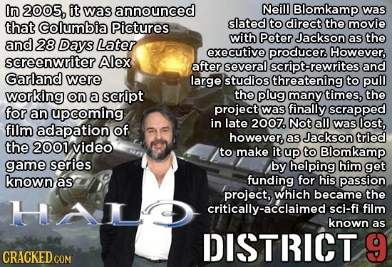 In 2005, it was announced Neill Blomkamp was that Columbia Pictures slated to direct the movie with Peter Jackson the and 28 Days Later as executive p