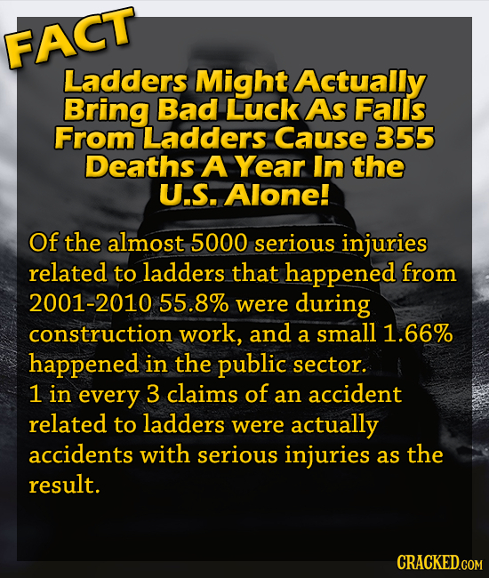 FACT Ladders Might Actually Bring Bad Luck As Falls From Ladders Cause 355 Deaths A Year In the U.S. Alone! Of the almost 5000 serious injuries relate