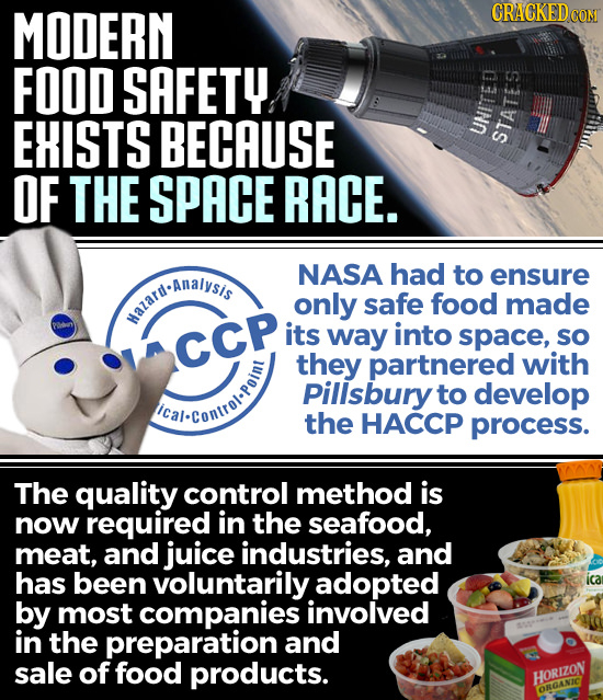 MODERN CRIATKIED FOOD SAFETY EHISTS BECAUSE UNITED STATES OF THE SPACE RACE. NTDANAIVSEA NASA had to ensure d-Analysis only safe food made Mazard. its