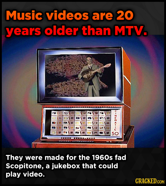 Music videos are 20 years older than MTV. u-zie-- 5O They were made for the 1960s fad Scopitone, a jukebox that could play video. CRACKED.GOM