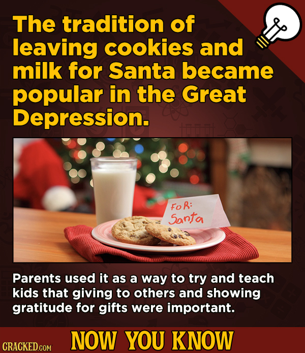 13 Fascinating Nuggets Of Movie And General Trivia - The tradition of leaving cookies and milk for Santa became popular in the Great Depression.