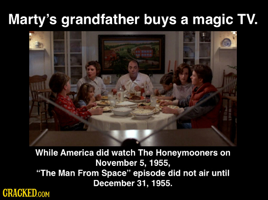 Marty's grandfather buys a magic TV. While America did watch The Honeymooners on November 5, 1955, The Man From Space episode did not air until Dece