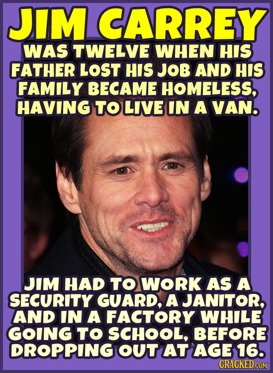 JIM CARREY WAS TWELVE WHEN HIS FATHER LOST HIS JOB AND HIS FAMILY BECAME HOMELESS, HAVING TO LIVE IN A VAN. JIM HAD TO WORK AS A SECURITY GUARD, A JAN