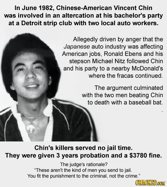 In June 1982, Chinese-American Vincent Chin was involved in an altercation at his bachelor's party at a Detroit strip club with two local auto workers