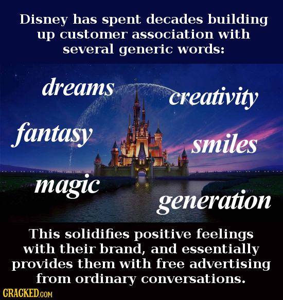 Disney has spent decades building up customer association with several generic words: dreams creativity fantasy smiles magic generation This solidifie