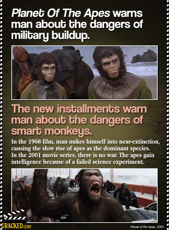 Planet Of The Apes warns man about the dangers of military buildup. The new installments warn man about the dangers of smart monkeys. In the 1968 film