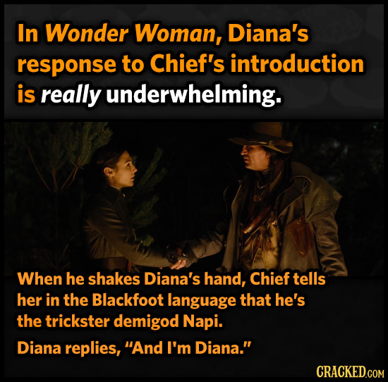 In Wonder Woman, Diana's response to Chief's introduction is really underwhelming. When he shakes Diana's hand, Chief tells her in the Blackfoot langu
