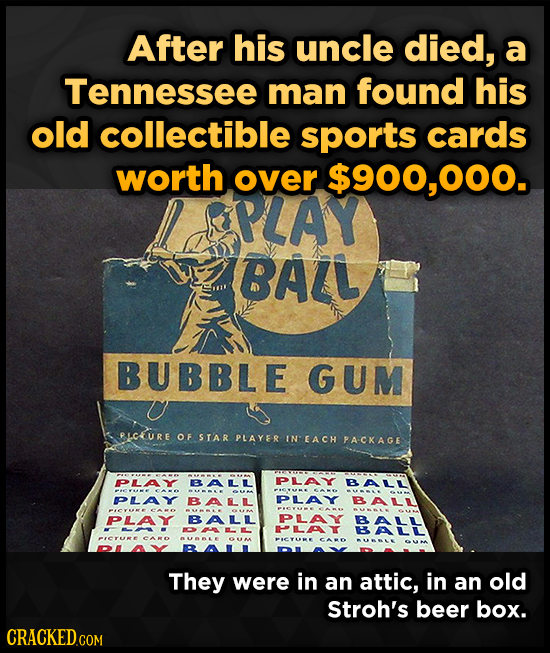 After his uncle died, a Tennessee man found his old collectible sports cards worth over $900,000. PLAY BAZL BUBBLE GUM RICURE OF STAR PLAYER IN EACH P