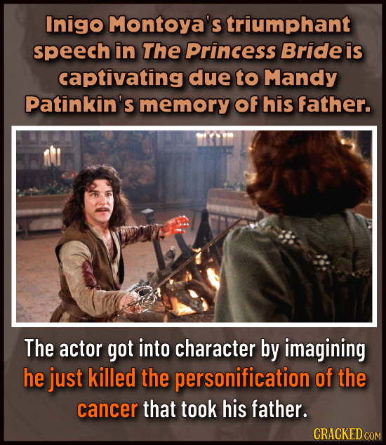 Inigo Montoya's triumphant speech in The Princess Bride is captivating due to Mandy Patinkin's memory Of his father. The actor got into character by i