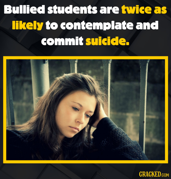 Bullied students are twice as likely to contemplate and commit suicide.