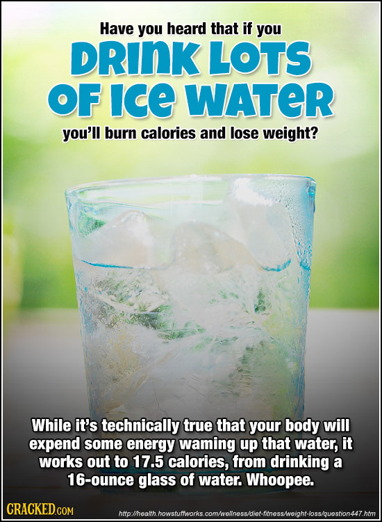 Have you heard that if you DRINK LOTS OF ICE WATER you'll burn calories and lose weight? While it's technically true that your body will expend some e