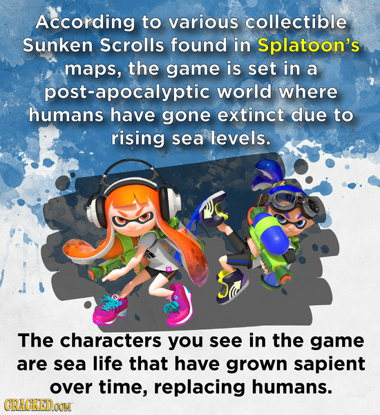 According to various collectible Sunken Scrolls found in Splatoon's maps, the game is set in a post-apocalyptic world where humans have gone extinct d