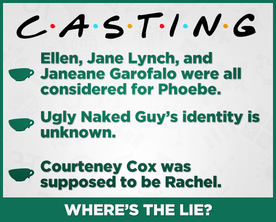 CAs.TING Ellen, Jane Lynch, and Janeane Garofalo were all considered for Phoebe. Ugly Naked Guy's identity is unknown. Courteney Cox was supposed to b