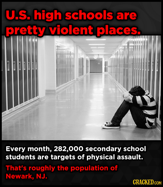 U.S. high schools are pretty violent places. 0 Every month, 282,00 secondary school students are targets of physical assault. That's roughly the popul