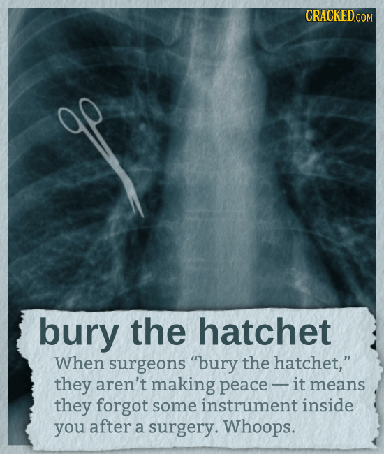 CRACKED COM bury the hatchet When surgeons bury the hatchet, they aren't making peace - it means they forgot some instrument inside you after a surg