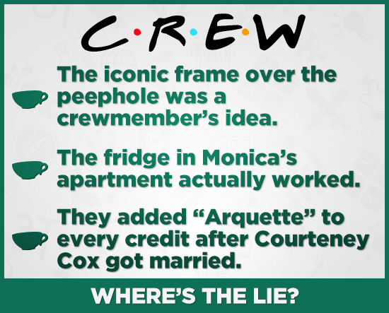 CREW The iconic frame over the peephole was a crewmember's idea. The fridge in Monica's apartment actually worked. They added Arquette to every cred