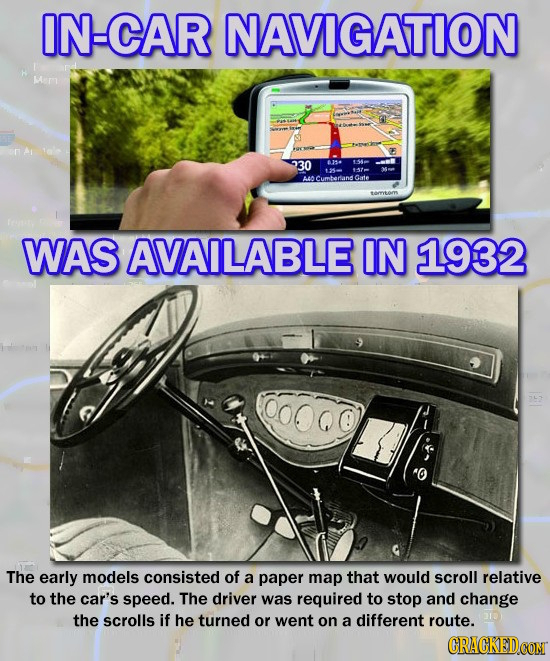 IN-CAR NAVIGATION Lian 30 8154 154 Gate WAS AVAILABLE IN 1932 The early models consisted of a paper map that would scroll relative to the car's speed.