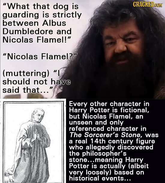 What that dog is CRACKEDO guarding is strictly between Albus Dumbledore and Nicolas Flamel! Nicolas Flamel? (muttering) I should not have said th