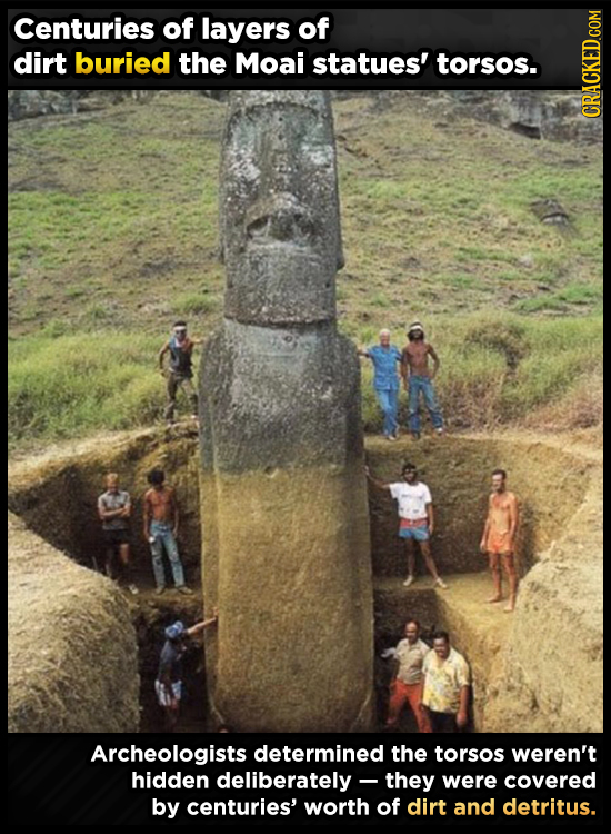 Centuries of layers of dirt buried the Moai statues' torsos. CRACKED COM Archeologists determined the torsos weren't hidden deliberately - they were c