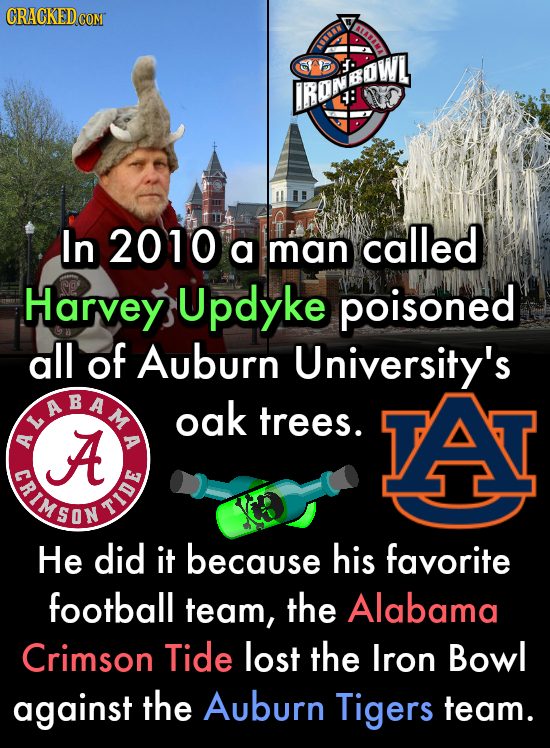 CRACKEDcO COM AAD BBu IROMSOWI : In 2010 called a man Harvey Updyke poisoned all of Auburn University's NNEEN oak trees. A TAT A A TIMED SON TIDE He d