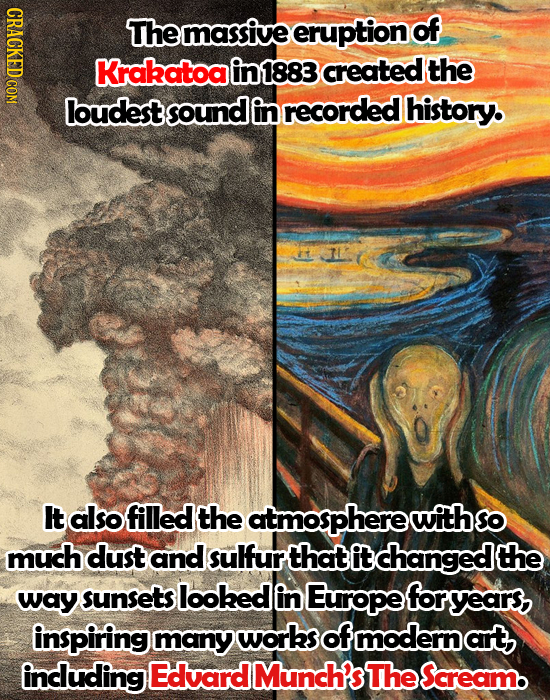 CRACKED COM Themassive eruption of Krakatoa in1883 created the loudestsoundg in recorded history. It also filled the atmospherewiths much dust and sul