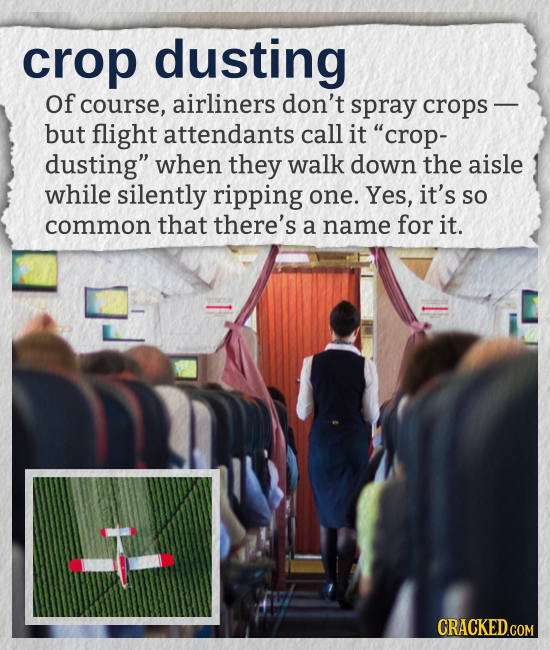 crop dusting Of course, airliners don't spray crops - but flight attendants call it crop- dusting when they walk down the aisle while silently rippi