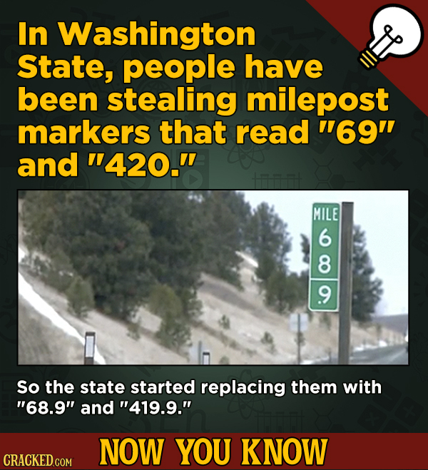 A Fresh Serving Of Movie-related And Miscellaneous Facts - In Washington State, people have been stealing milepost markers that read 69 and 420.