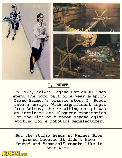 I, ROBOT In 1977, sci-fi legend Harlan Ellison spent the good part of a year adapting Isaac Asimov' s classic story I, Robot into a script. With signi