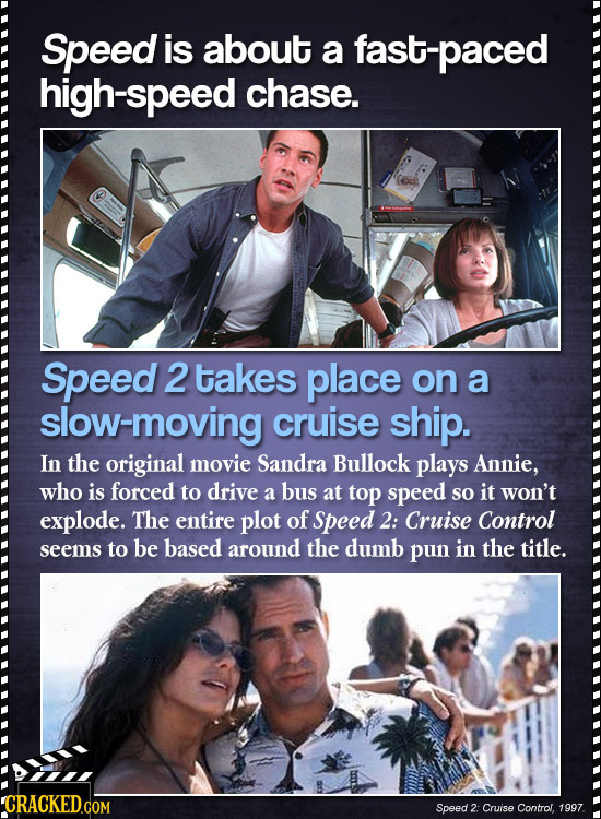 Speed is about a fast-paced h-speed chase. Speed 2 takes place on a slow-moving cruise ship. In the original movie Sandra Bullock plays Annie, who is