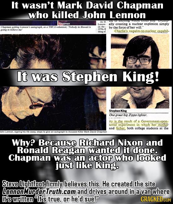 It wasn't Mark David Chapman who killed John Lennon Se Asth Chapman Lenee ally creating a nuclear explosion simply ptring owtognupk, YAICAT volunte 'N
