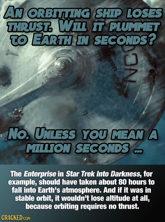 AN ORBITTING SHIP LOSES THRUST. WIiLl IT PLUMMET To EARTH IN SECONDS? No. Unless YOU MEAN A MILLION SECONDS The Enterprise in Star Trek Into Darkness,