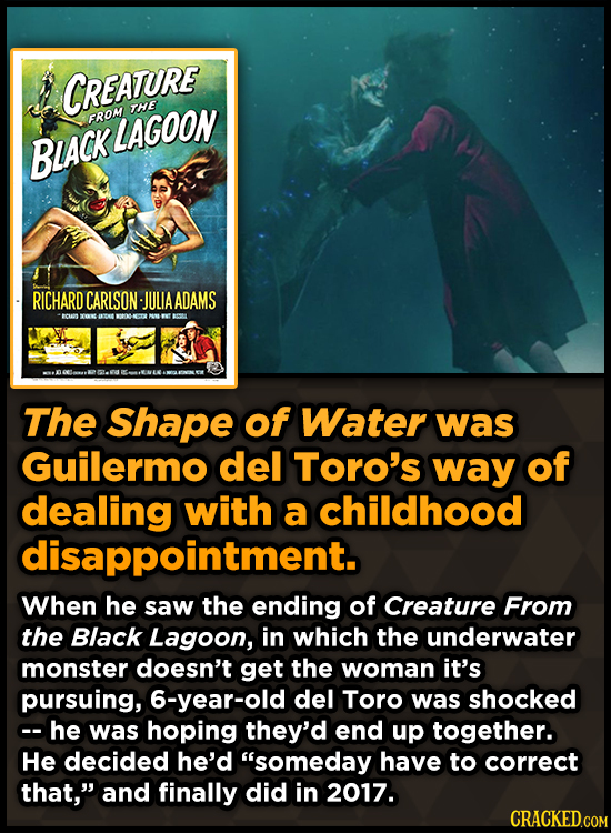 CREATURE THE FROM LAGOON BIACK RICHARD CARLSON JULIAADAMS ECMON 100 The Shape of Water was Guilermo del Toro's way of dealing with a childhood disappo