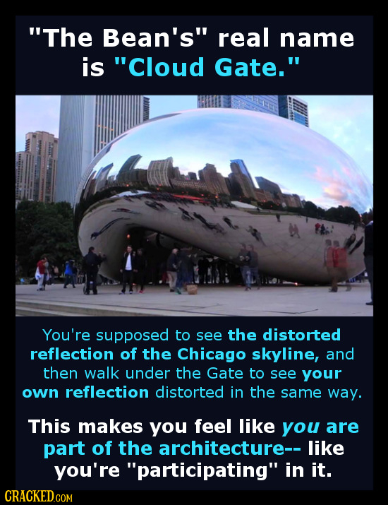 The Bean's real name is Cloud Gate. You're supposed to see the distorted reflection of the Chicago skyline, and then walk under the Gate to see yo