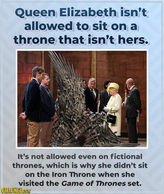 Queen Elizabeth isn't allowed to sit on a throne that isn't hers. It's not allowed even on fictional thrones, which is why she didn't sit on the Iron
