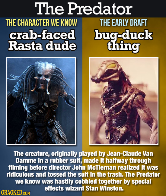 The Predator THE CHARACTER WE KNOW THE EARLY DRAFT crab-faced bug-duck Rasta dude thing The creature, originally played by Jean-Claude Van Damme in a