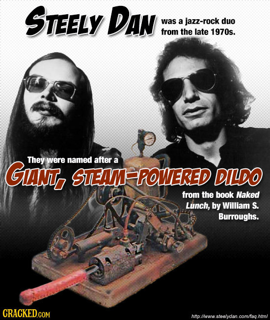 STEELY DAN was a jazz-rock duo from the late 1970s. GANT, They were named after a STEAM POWERED DILDO from the book Naked Lunch, by William S. Burroug