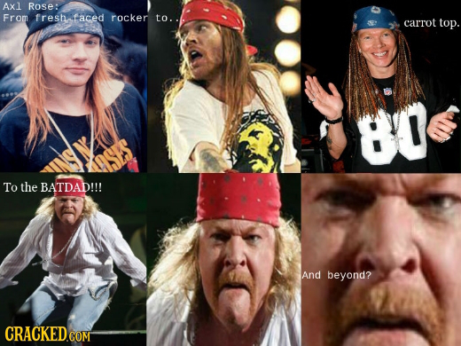 Axl Rose: From freshrace rocker to. carrot top. 80 To the BATDAD!!! And beyond?