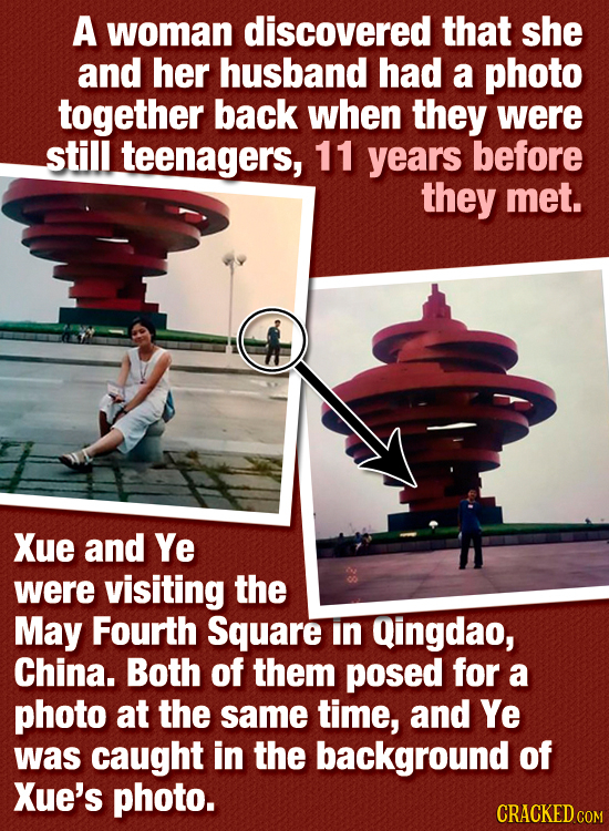 A woman discovered that she and her husband had a photo together back when they were still teenagers, 11 years before they met. Xue and Ye were visiti