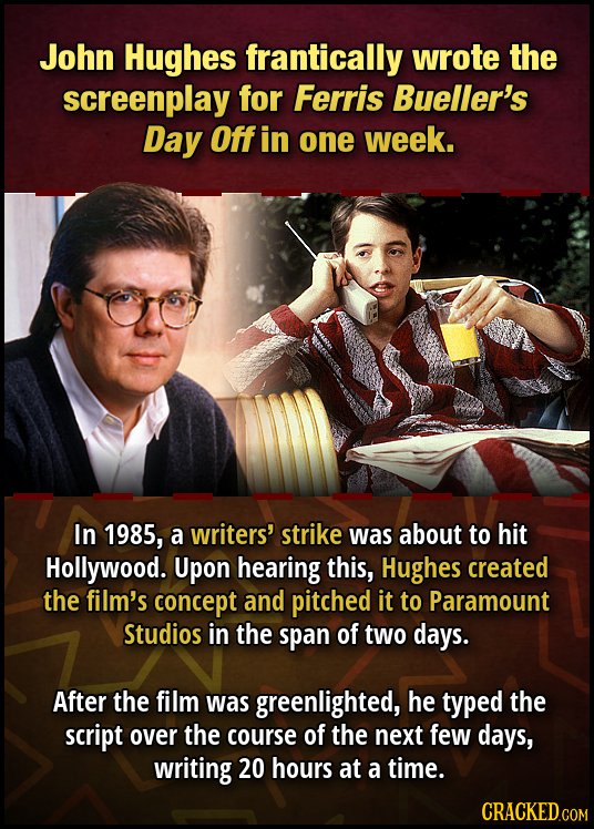 John Hughes frantically wrote the screenplay for Ferris Bueller's Day Off in one week. In 1985, a writers' strike was about to hit Hollywood. Upon hea