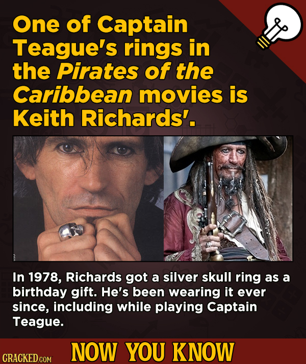 A Fresh Serving Of Movie-related And Miscellaneous Facts - One of Captain Teague's rings in the Pirates of the Caribbean movies is