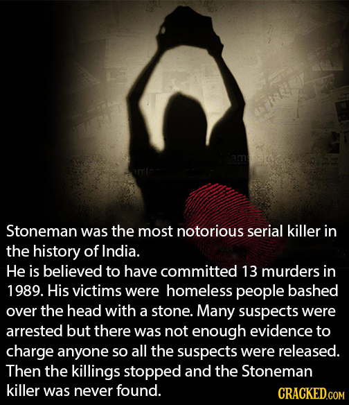Stoneman was the most notorious serial killer in the history of India. He is believed to have committed 13 murders in 1989. His victims were homeless