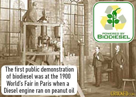 POWERED BY BIODiESEL The first public demonstration of biodiesel was at the 1900 World's Fair in Paris when a Diesel engine ran on peanut oil CRACKED