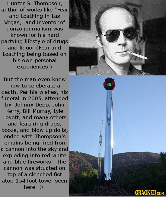Hunter S. Thompson, author of works like Fear and Loathing in Las Vegas, and inventor of gonzo journalism was known for his hard partying lifestyle