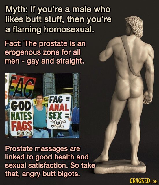 Myth: If you're a male who likes butt stuff, then you're a flaming homosexual. Fact: The prostate is an erogenous zone for all men - gay and straight.