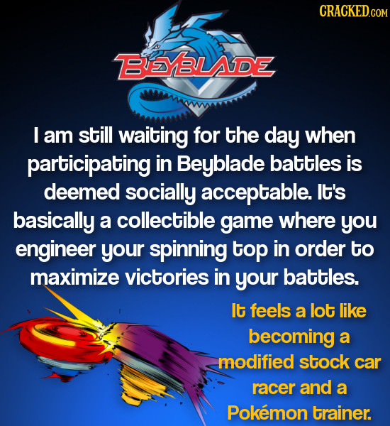 ESYBLADE I am still waiting for the day when participating in Beyblade battles is deemed socially acceptable. lt's basically a collectible game where