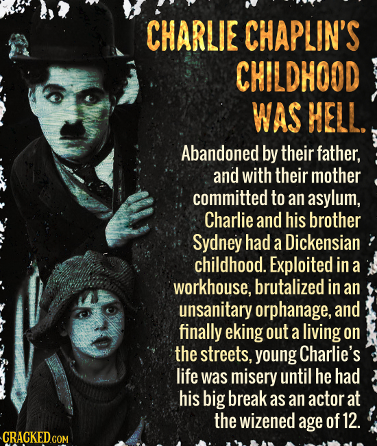 CHARLIE CHAPLIN'S CHILDHOOD WAS HELL. Abandoned by their father, and with their mother committed to an asylum, Charlie and his brother Sydney had a Di