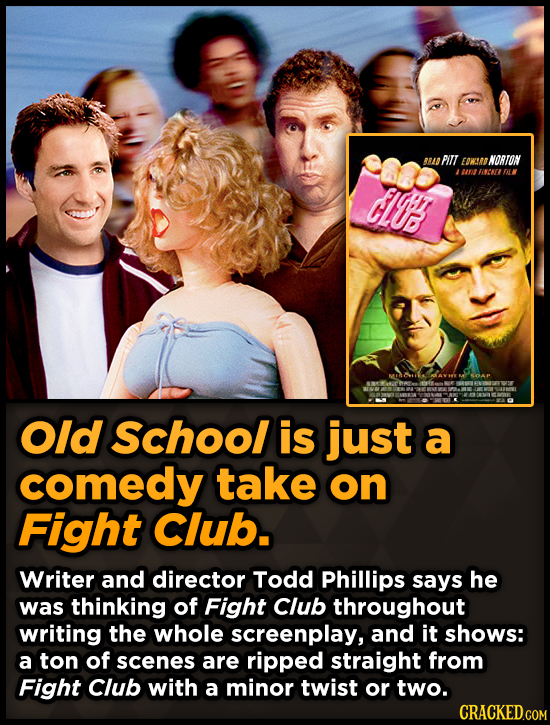 ARAD PILL EOWEA NORTON 0rZ FALK CI' Old School is just a comedy take on Fight Club. Writer and director Todd Phillips says he was thinking of Fight Cl
