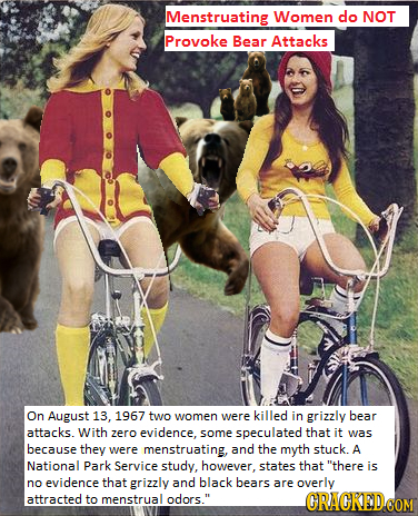 Menstruating Women do NOT Provoke Bear Attacks On August 13. 1967 two were killed women in grizzly bear attacks. With zero evidence. some speculated t